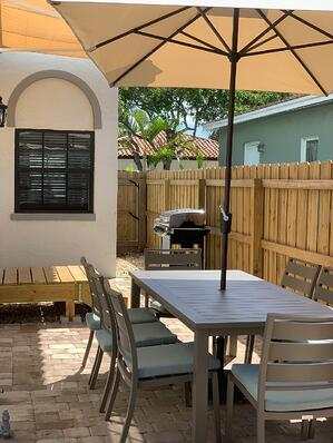 The patio at the Banana Inn is an oasis of relaxation.