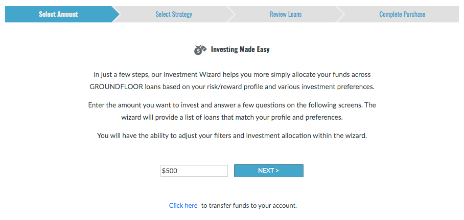 Sign into your Investor Account to get started with the Investment Wizard.