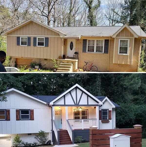 Before and after for a renovation/remodel at 2604 Crestdale in Atlanta